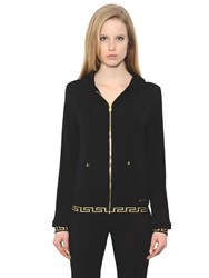 Versace Hooded Viscose Jersey Zip Up Sweatshirt
