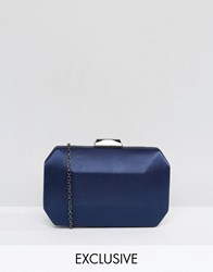 Chi Chi London Satin Clutch Bag Navy