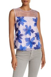 Rebecca Taylor Sleeveless Floral Blouse Purple