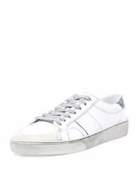 Saint Laurent Sl 37 Distressed Low Top Sneaker White Silver White Gray