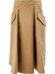 Carven Beaded A Line Skirt Brown