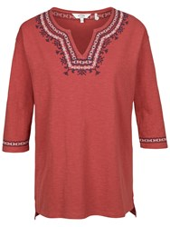 Fat Face Bantham Embroidered Top Redwood