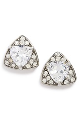 Sole Society Geo Crystal Stud Earrings Silver