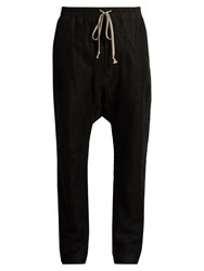 Rick Owens Mesh Overlay Dropped Crotch Linen Trousers Black