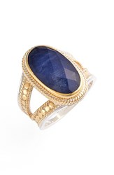 Women's Anna Beck Precious Stone Oval Split Shank Ring Gold Sapphire