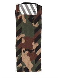 Off White Camouflage And Stripes Cotton Socks