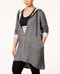 Jessica Simpson The Warmup Plus Size Long Hooded Jacket Grey Marble