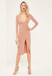 Missguided Nude Plunge Long Sleeve Side Split Midi Dress Rose