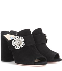 Prada Suede Open Toe Mules Black