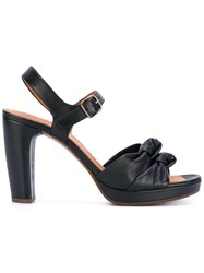 Chie Mihara Knot Detail Platform Sandals Women Leather Rubber 40 Black