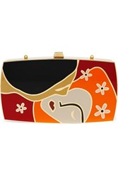 13Bc The Kiss Gold Tone And Enamel Clutch One Size