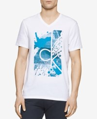 Calvin Klein Men's Graphic Print V Neck T Shirt White