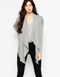 Wal G Cardigan With Waterfall Front Grey