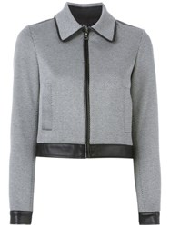 Theory Cropped Leather Trim Jacket