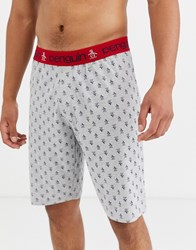 Penguin Lounge Jersey Shorts In Grey And Black Check