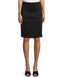 Piazza Sempione Grosgrain Panel Straight Slim Knee Length Skirt Black White