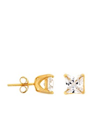 Lord And Taylor 18Kt Yellow Gold Finished Sterling Silver Cubic Zirconia Stud Earrings