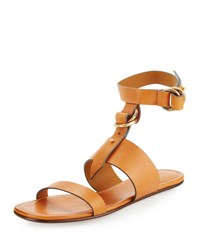 Chloe Matte Leather T Strap Flat Sandal Cognac Brown