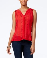 Sanctuary Craft Sleeveless Printed Shirt Red Boho