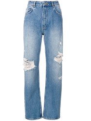 Anine Bing Leigh Ripped Boyfriend Jeans Cotton Blue
