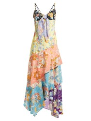 Peter Pilotto Tiered Floral Print Tie Front Crepe Slip Dress Multi