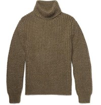 Berluti Waffle Knit Wool Blend Rollneck Sweater Army Green