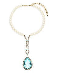Heidi Daus Long Teardrop Faux Pearl And Crystal Pendant Necklace Gold