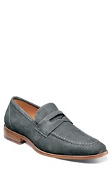 Stacy Adams Colfax Apron Toe Penny Loafer Gray Suede