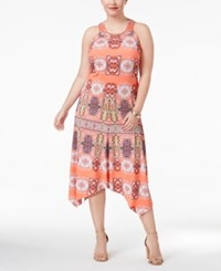 Inc International Concepts Plus Size T Back Midi Dress Only At Macy's Coral Medallion
