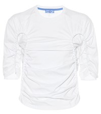Thierry Mugler Ruched Cotton Top White