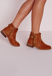 Missguided Tassel Detail Western Ankle Boots Tan Brown