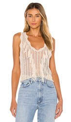 Line And Dot Getaway Fringe Tank In Cream. Neutral