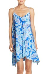Women's Lilly Pulitzer 'Clara' Print Silk Trapeze Dress Bay Blue Into The Deep