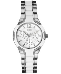 Guess Women's White Silicone And Silver Tone Steel Bracelet Watch 36Mm U0556l1