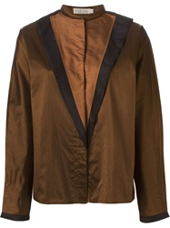 Versace Vintage Front Panel Blouse Brown