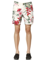Hydrogen Floral Printed Cotton Cargo Shorts White