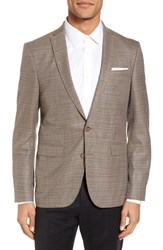 Sand Men's Trim Fit Wool Blazer Khaki