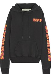 Off White Rays Over Printed Cotton Jersey Sweatshirt Black