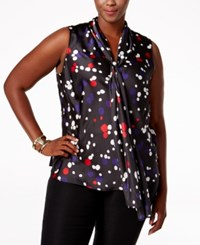 Nine West Plus Size Dot Print Tie Neck Blouse Fire Red Grape Multi