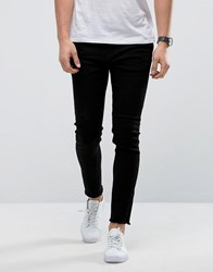 Only And Sons Skinny Black Jeans With Raw Edge Black