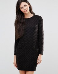 Lavand Black Shift Dress With Pockets Bk Black