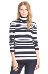 Nordstrom Stripe Cashmere Turtleneck Sweater Navy Medieval Ivory Soft