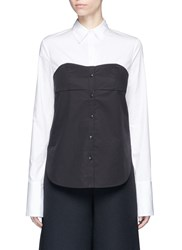 Tibi Colourblock Cotton Poplin Bustier Shirt Black