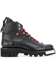 Dsquared2 Shearling Lined Boots Men Leather Rubber 42.5 Black