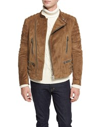 Tom Ford Cafe Quilted Suede Biker Jacket Tan