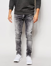 Kubban Biker Jean Black Acid Wash Grey