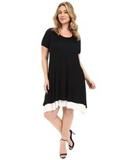 Karen Kane Plus Size Layered Handkerchief Hem Dress Black Off White Women's Dress Multi