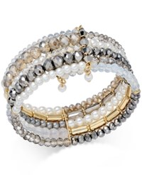 Inc International Concepts Gold Tone Bead Imitation Pearl Multi Row Cuff Bracelet Only At Macy's