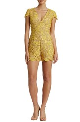 Dress The Population Women's Juliette Plunge Romper Canary Nude