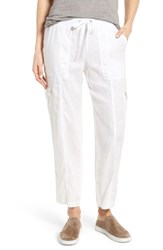 Eileen Fisher Women's Linen Cargo Pants White